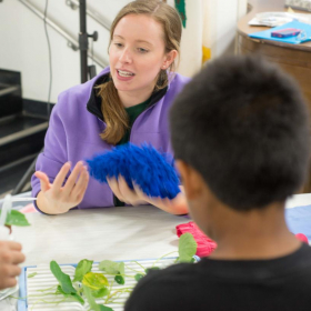 2015: It's a Material World: Katie at Ellwood Elementary School teaching kids about the hydrophobic surfaces on the leaves of a Lotus plant.