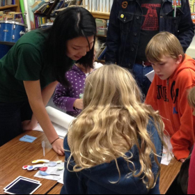 2014 It's a Material World: Eunhee at Foothill Elementary School teaching students about heat sensitive materials.