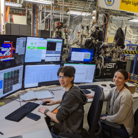 Kelly and Veronica at the SST-1 beamline at NSLS-II